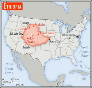 I once lived in Addis Abeba and now I live just West of Washington DC.