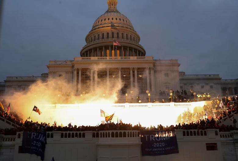 US Capitol on the evening of January 6, 2021 - Reuters News