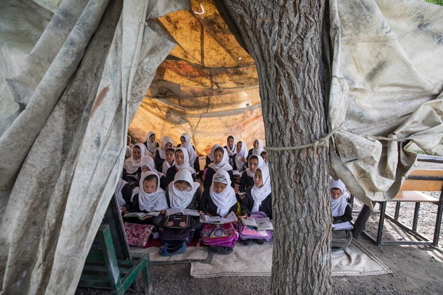 Girls study in a tent held up by a tree in a government school in Kabul, Afghanistan. Forty-one percent of all schools in Afghanistan do not have buildings and even when they do, they are often overcrowded, with some children forced to study outside. © 2017 Paula Bronstein for Human Rights Watch