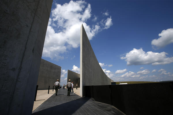 The dark stone path that bisects the Flight 93 National Memorial visitors center in Shanksville, Pa., memorializes the flight path of the United Airlines flight.