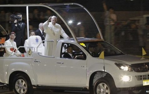Pope Francis riding the streets of Manila on the PopeMobile