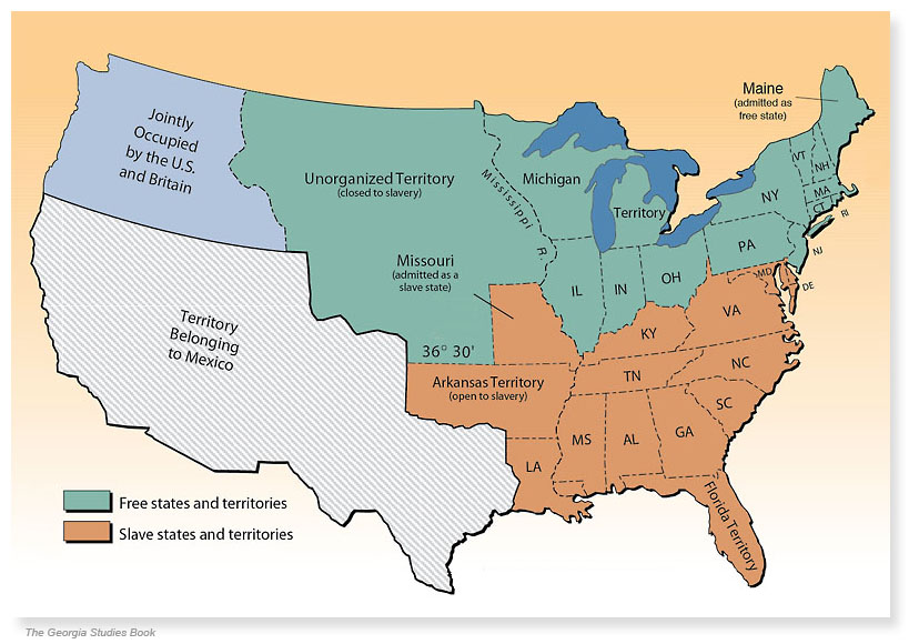 Missouri Compromise Mountain View Mirror - Us slave states map