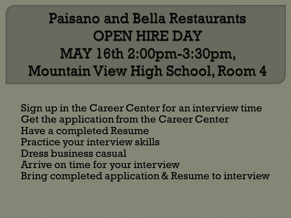 Paisano and Bella Pizza Restaurant Hiring Event!