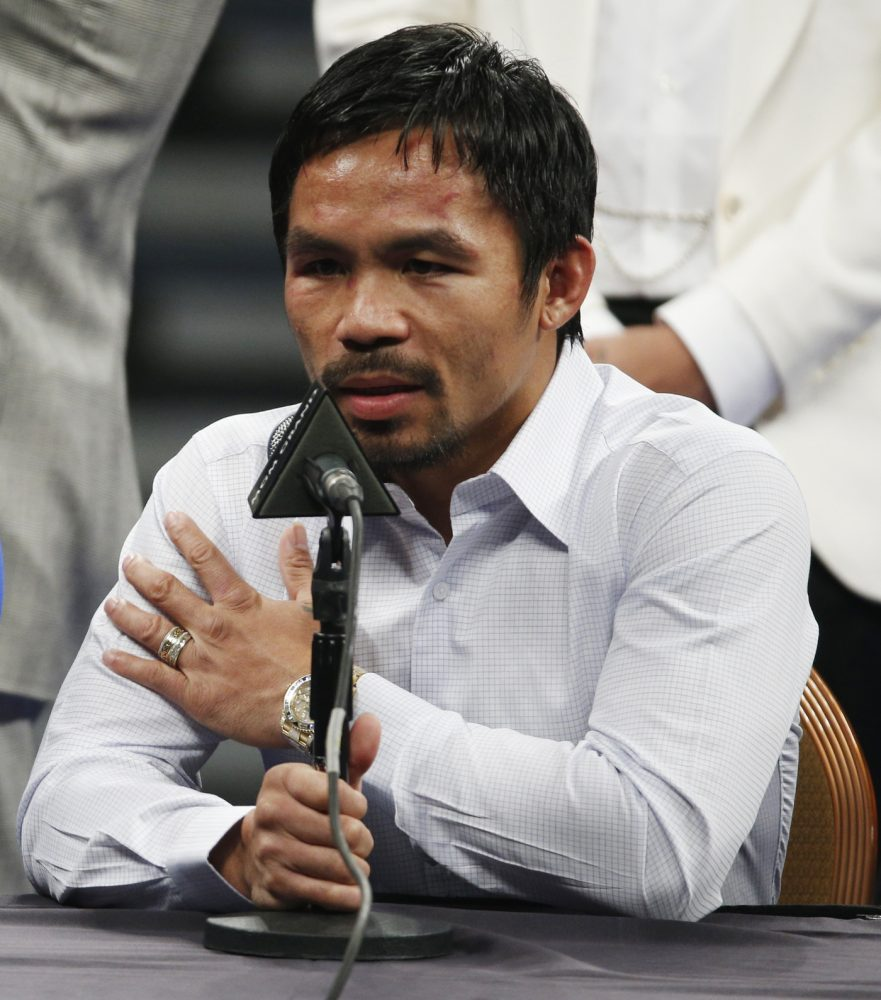 Manny+Pacquiao+answers+questions+May+2+during+a+news+conference+following+his+welterweight+title+fight+against+Floyd+Mayweather+Jr.+in+Las+Vegas.+Pacquiao+could+face+disciplinary+action+from+Nevada+boxing+officials+for+failing+to+disclose+a+shoulder+injury+before+the+fight.
