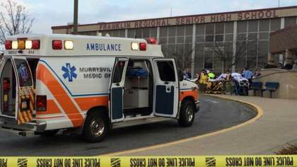 Ambulance arriving on scene of the stabbings that took place at Franklin Regional High School